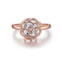 preiswerte Ringe-Damen Klar Kubikzirkonia Ring Verlobungsring - Blume Chinoiserie 6 / 7 / 8 / 9 / 10 Rotgold Für Party Geschenk
