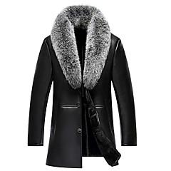 hesapli Men's Winter Coats-Erkek Günlük Sokak Şıklığı Normal Kürk Mont, Solid V Yaka Uzun Kollu Kuzu Derisi Kahverengi / Siyah XXL / XXXL / 4XL