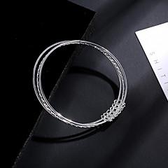 preiswerte Armbänder-Damen Mehrschichtig Armreife - Kreis verdrehen Einfach, Einzigartiges Design Armbänder Silber Für Geschenk Alltag Strasse