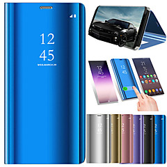Недорогие Чехлы и кейсы для Huawei Mate-Кейс для Назначение Huawei Huawei Mate 20 Pro / Huawei Mate 20 Покрытие / Зеркальная поверхность / Флип Чехол Однотонный Твердый Кожа PU для Mate 10 / Mate 10 pro / Mate 10 lite