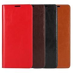 Недорогие Чехлы и кейсы для Galaxy Note 5-Кейс для Назначение SSamsung Galaxy Note 9 / Note 8 Кошелек / Бумажник для карт / со стендом Чехол Однотонный Твердый Настоящая кожа для Note 9 / Note 8 / Note 5