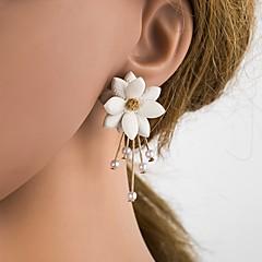 preiswerte Ohrringe-Damen 3D Ohrstecker - Künstliche Perle, Harz, S925 Sterling Silber Blume Stilvoll, Klassisch Beige / Weiß Für Alltag