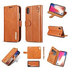 Недорогие Кейсы для iPhone 7-Кейс для Назначение Apple iPhone 8 Plus / iPhone XS Бумажник для карт / Защита от удара / со стендом Чехол Однотонный / Плитка Твердый Настоящая кожа для iPhone XS / iPhone X / iPhone 8 Pluss