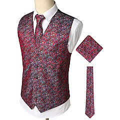 cheap Men's Blazers & Suits-Men's Work / Birthday Business / Vintage Spring & Summer / Fall & Winter Regular Vest, Print V Neck Sleeveless Cotton / Spandex Print Red XL / XXL / XXXL / Business Casual