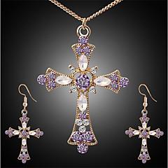 abordables Juegos de Joyería-Mujer Circonita Conjunto de joyas - Cruz Elegante, Clásico Incluir Pendientes colgantes Collar Dorado Para Diario