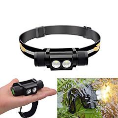 preiswerte Stirnlampen-Stirnlampen LED LED 2 Sender 30-550 lm 6 Beleuchtungsmodus inklusive Batterien Wasserfest, Verstellbar, Langlebig Camping / Wandern / Erkundungen, Radsport, Jagd Schwarz