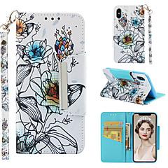 Недорогие Кейсы для iPhone 6-Кейс для Назначение Apple iPhone XR / iPhone XS Max Кошелек / Бумажник для карт / со стендом Чехол Цветы Твердый Кожа PU для iPhone XS / iPhone XR / iPhone XS Max