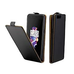 お買い得  その他のケース-ケース 用途 OnePlus 5 カードホルダー / フリップ フルボディーケース ソリッド ハード PUレザー のために One Plus 5
