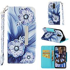 Недорогие Чехлы и кейсы для LG-Кейс для Назначение LG LG Stylo 4 Кошелек / Бумажник для карт / Флип Чехол Цветы Твердый Кожа PU для LG Stylo 4
