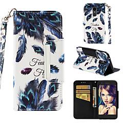 Недорогие Чехлы и кейсы для LG-Кейс для Назначение LG K10 2018 Кошелек / Бумажник для карт / Флип Чехол Перья Твердый Кожа PU для LG K10 2018