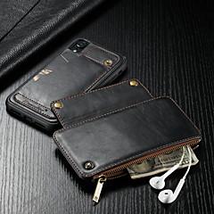 baratos Capinhas para iPhone-CaseMe Capinha Para Apple iPhone XR Carteira / Porta-Cartão / Antichoque Capa Proteção Completa Sólido Rígida PU Leather para iPhone XR