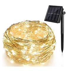 preiswerte LED Lichtstreifen-10m Lichterkette 100 LED 1Set Montagehalterung warmweiß Solar dekorative solarbetriebene Weihnachten Hochzeit neues Jahr