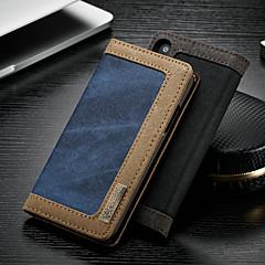 Недорогие Кейсы для iPhone X-CaseMe Кейс для Назначение Apple iPhone X / iPhone XS Кошелек / Бумажник для карт / со стендом Чехол Однотонный Твердый текстильный для iPhone XS / iPhone X