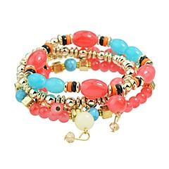 preiswerte Armbänder-Damen Glasperlen Strang-Armbänder - Grundlegend, Modisch Armbänder Grau / Rot / Blau Für Alltag Schultaschen / 4pcs