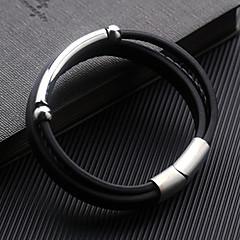 お買い得  ブレスレット-男性用 幾何学模様 ラップブレスレット  -  レザー ブレスレット ブラック 用途 日常 フォーマル