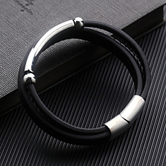 preiswerte Armbänder-Herrn Geometrisch Wickelarmbänder - Leder Armbänder Schwarz Für Alltag Formal