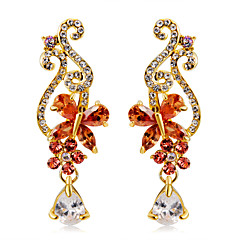 preiswerte Ohrringe-2pcs Damen Orange Kristall Kronleuchter Lang Tropfen-Ohrringe - vergoldet Diamantimitate Schmetterling Luxus Modisch Modern Schmuck Orange Für Zeremonie Formal