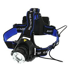 preiswerte Stirnlampen-Stirnlampen Fahrradlicht LED LED 1 Sender 1800 lm 3 Beleuchtungsmodus Zoomable-, Wasserfest, einstellbarer Fokus Camping / Wandern / Erkundungen, Für den täglichen Einsatz, Radsport Schwarz / Blau