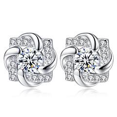 preiswerte Ohrringe-Damen Klassisch Ohrstecker - Diamantimitate Blume Einfach Modisch Schmuck Silber Für Geschenk Alltag 1 Paar