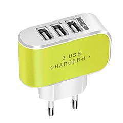levne Nabíječky-Přenosná nabíječka / Bezdrátová nabíječka Nabíječka USB EU zásuvka Běžný 3 USD porty 3.1 A DC 5V pro