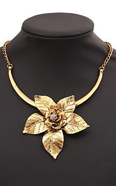 cheap -Women's Cubic Zirconia Statement Necklace Origami Artisan Lotus everyday Cubic Zirconia Gold Silver Necklace Jewelry For Party