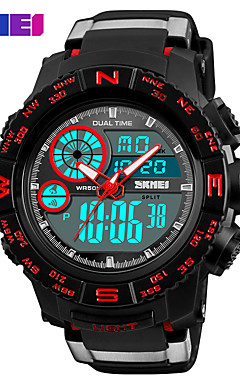 cheap -SKMEI Men's Sport Watch Military Watch Digital Watch Japanese Digital Quilted PU Leather Black 50 m Water Resistant / Waterproof Alarm Calendar / date / day Analog - Digital Casual Fashion - Black