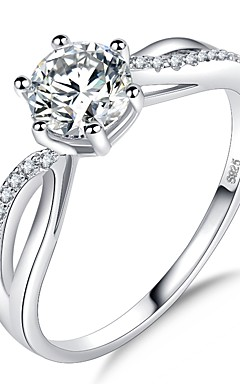 cheap -Women's Stylish Solitaire Halo Ring Platinum Plated Imitation Diamond Love Joy Ladies Romantic Korean Elegant Ring Jewelry Silver For Wedding Formal Masquerade Engagement Party Prom Date 5 / 6 / 7