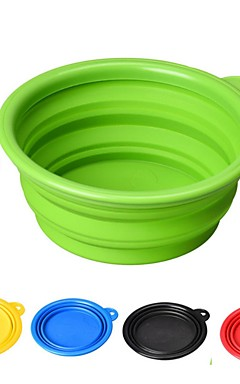 رخيصةأون -القوارض كلاب قطط الطاسات وزجاجات / مغذيات / تخزين المواد الغذائية 1/0.35 L جل السيليكا مضاعف قابلة للطي أحمر أخضر أزرق السلطانيات والتغذية