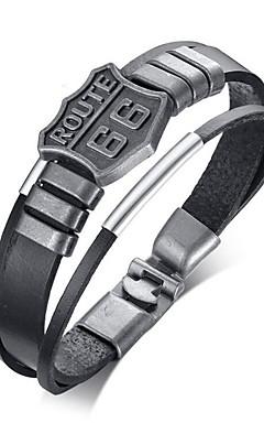 رخيصةأون -رجالي أساور من الجلد كلاسيكي أمل أنيق سبيكة مجوهرات سوار أسود من أجل مناسب للبس اليومي مناسب للعطلات