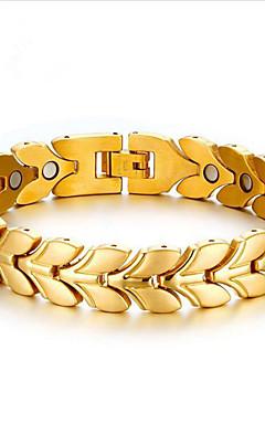 رخيصةأون -رجالي أساور السلسلة والوصلة كلاسيكي النباتية أنيق الصلب التيتانيوم مجوهرات سوار ذهبي / فضي من أجل مناسب للبس اليومي