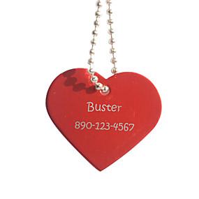Недорогие Подарки на заказ-Персональный подарок форме сердца красный Pet Id Name Tag с цепочкой для собак