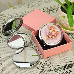 billige Personlige print og gaver-Personlig gave Floral Style Pink Chrome kompakt spejl