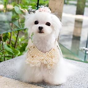 voordelige Honden Sieraden & Accessoires-Hond Stropdas / Vlinderdas Hondenkleding Wit Geel Gemengd Materiaal Kostuum Voor Lente & Herfst Dames Cosplay