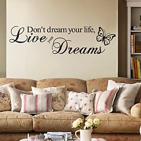 저렴한 홈 & 주방-Words & Quotes 벽 스티커 플레인 월스티커 데코레이티브 월 스티커, PVC 홈 장식 벽 데칼 벽