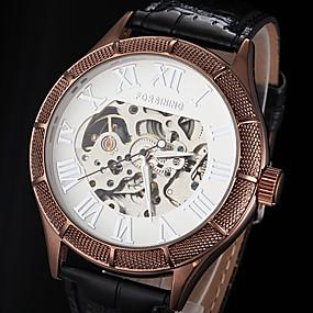 voordelige Merk Horloge-FORSINING Heren Skeleton horloge mechanische horloges Automatisch opwindmechanisme Leer Zwart / Bruin Hol Gegraveerd Analoog Luxe - Wit Zwart Bronzen