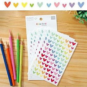 cheap Home & Kitchen-Colorful Funny Heart Sticker Set(6 PCS)