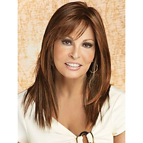 cheap Makeup & Nail Care-Synthetic Wig Straight Style With Bangs Capless Wig Brown Synthetic Hair Women's With Bangs Wig Long StrongBeauty