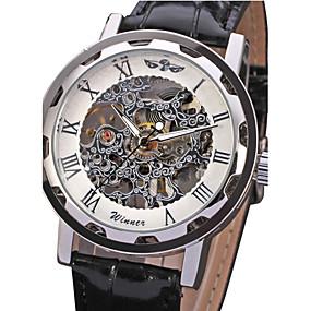 voordelige Merk Horloge-WINNER Heren Skeleton horloge Polshorloge mechanische horloges Handmatig opwindmechanisme Oversized Gewatteerd PU-leer Zwart Hol Gegraveerd Analoog Luxe - Wit Zwart Blauw