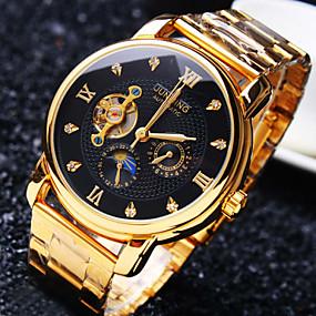 voordelige junming-Heren mechanische horloges Japans Automatisch opwindmechanisme Roestvrij staal Goud 30 m Waterbestendig Hol Gegraveerd Creatief Analoog Luxe Glitter - Zwart Gouden Wit / imitatie Diamond