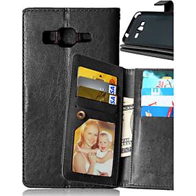voordelige Galaxy Core Prime Hoesjes / covers-hoesje Voor Samsung Galaxy J5 / J1 / Grand Prime Portemonnee / Kaarthouder / met standaard Volledig hoesje Effen PU-nahka