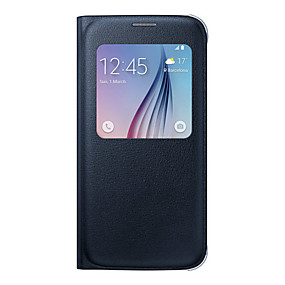 voordelige Galaxy S6 Edge Plus Hoesjes / covers-hoesje Voor Samsung Galaxy S8 Plus / S8 / S7 edge met venster / Flip Volledig hoesje Effen Zacht PU-nahka