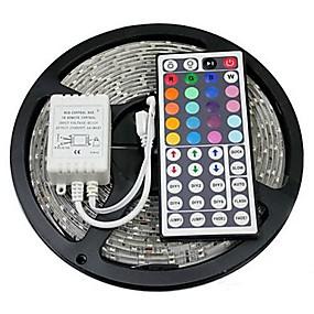 ieftine Benzi Lumină LED-benzi led zdm 5m 300 x 5050 rgb lumină flexibilă și telecomandă ir 44key conectabilă auto-adezivă care schimbă culoarea