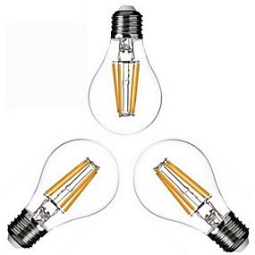 זול נורות לד חוט להט-KWB 3pcs 4 W נורת להט לד 400 lm E26 / E27 A60(A19) 4 LED חרוזים COB לבן חם 220-240 V 110-130 V / שלושה חלקים / RoHs
