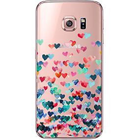 voordelige Galaxy S6 Edge Plus Hoesjes / covers-hoesje Voor Samsung Galaxy S7 edge / S7 / S6 edge plus Transparant / Patroon Achterkant Hart Zacht TPU