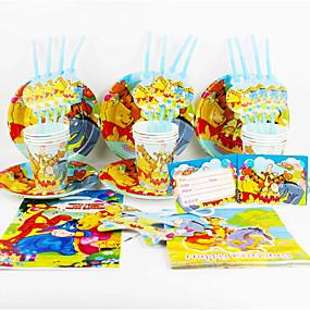 זול בית ומטבח-פו קישוט מפלגת ספקי צד evnent ילדי קישוטים למסיבת pooh 92pcs יום הולדת 12 אנשים משתמשים