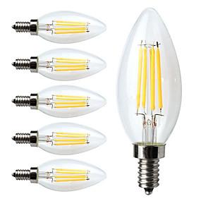 Недорогие Светодиодное освещение оптом-6шт LED лампы накаливания 380 lm E12 C35 4 Светодиодные бусины COB Диммируемая Тёплый белый 110-130 V / 6 шт. / RoHs