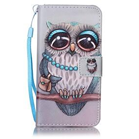 voordelige Galaxy A5(2016) Hoesjes / covers-hoesje Voor Samsung Galaxy A5(2016) / A3(2016) Portemonnee / Kaarthouder Volledig hoesje Uil Hard PU-nahka