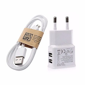billige Lader med kabel-Stasjonær lader / Bærbar lader USB-lader Eu Plugg Hurtiglading 2 USB-porter 3.1 A til