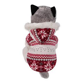 Χαμηλού Κόστους Χριστουγεννιάτικα κοστούμια για κατοικ-Σκύλος Παλτά Φούτερ με Κουκούλα Ρούχα για σκύλους Χιονονιφάδα Καφέ Κόκκινο Βαμβάκι Στολές Για Χειμώνας Ανδρικά Γυναικεία Διατηρείτε Ζεστό Διπλής Όψης Χριστούγεννα