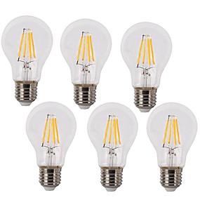 baratos Lâmpadas de LED Filamento-KWB 6pcs 4 W Lâmpadas de Filamento de LED 350-450 lm E26 / E27 A60(A19) 4 Contas LED COB Impermeável Decorativa Branco Quente Branco Frio 220-240 V / 6 pçs / RoHs